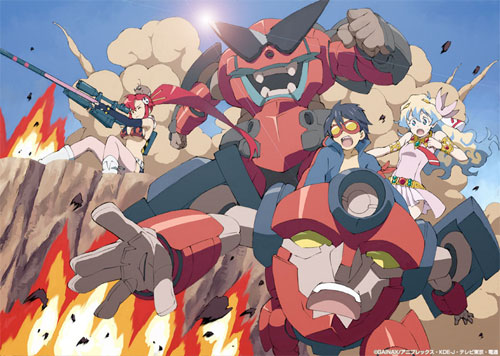 Another wonderful homage to kaiju and mech movies: Gurren Lagann