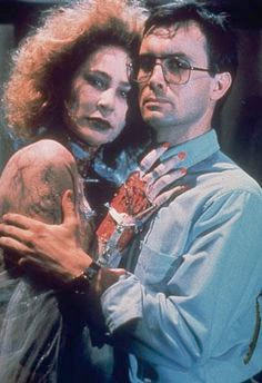 Kathleen Kinmont and Jeffrey Combs pose for a Bride of Re-Animator publicity photo